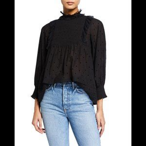 THE GREAT. The Portrait Top in Black Flocked Dot